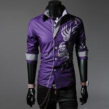 Chinese style dragon shirt Men slim casual male shirt purple(China (Mainland))