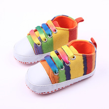 Kids Girls Boys First Walkers Ninas Newborn Infantil Striped Rainbow Baby Toddlers Zapatos Shoes Bebes Brand Children (China (Mainland))