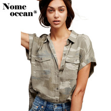 Cover Sleeve Camouflage Shirt Military Shoulder Strap Women Blouses 2017 Summer Short Sleeve Shirt Button-up Pockets M17041903(China (Mainland))