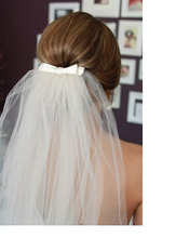 2016 New Fashion Simple cheap white Wedding Veil Tull Bow Veil Custom comb Made Long Or Short(China (Mainland))