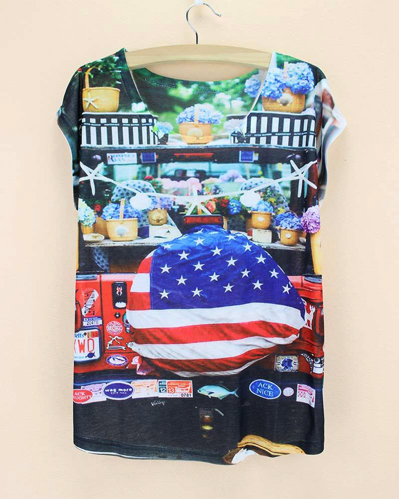 american flag storage ladies tops american style women shirt short sleeve fashion collection made in china women's tanks(China (Mainland))