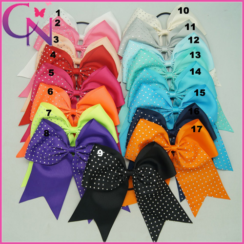 1PCS 17Colors Hot Sale Rhinestone Cheer Bows For Girls Solid Ribbon Cheerleading Bow WIth Elastic Baby Cheer Bow CNHB-1408184()