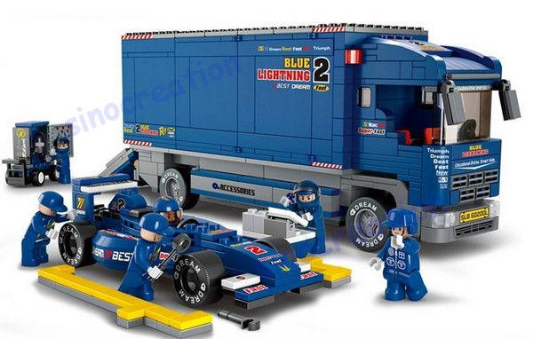 Sluban 641pcs/set DIY F1 Racing Truck And Racing Car For Children, Educational Toy Blocks Set B0357,Free Shipping<br><br>Aliexpress