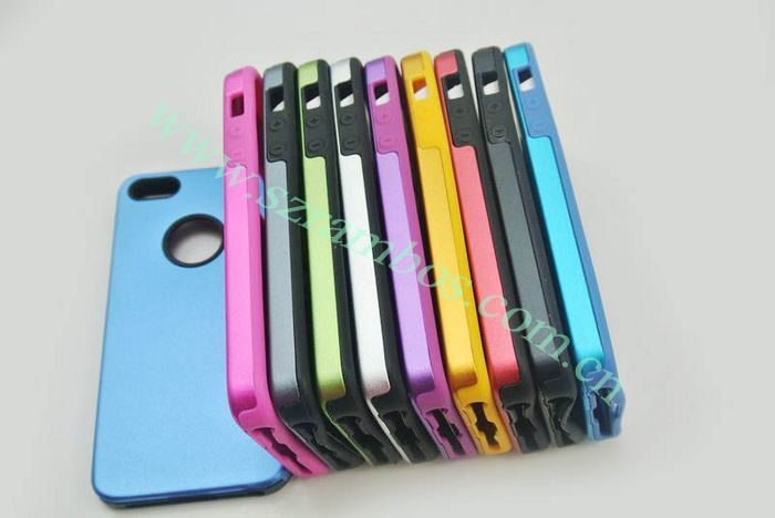 400pcs/lot For iPhone 5 5G,. Aluminum Hard Shell Case with Soft Silicon Cell Phone Cover(China (Mainland))