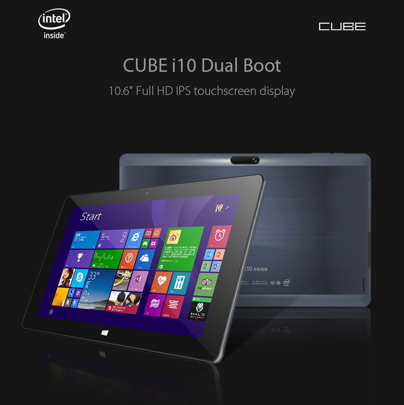Newest 10 6 inch HD Cube i10 Dual Boots Tablet PC Windows 8 1 Android 4