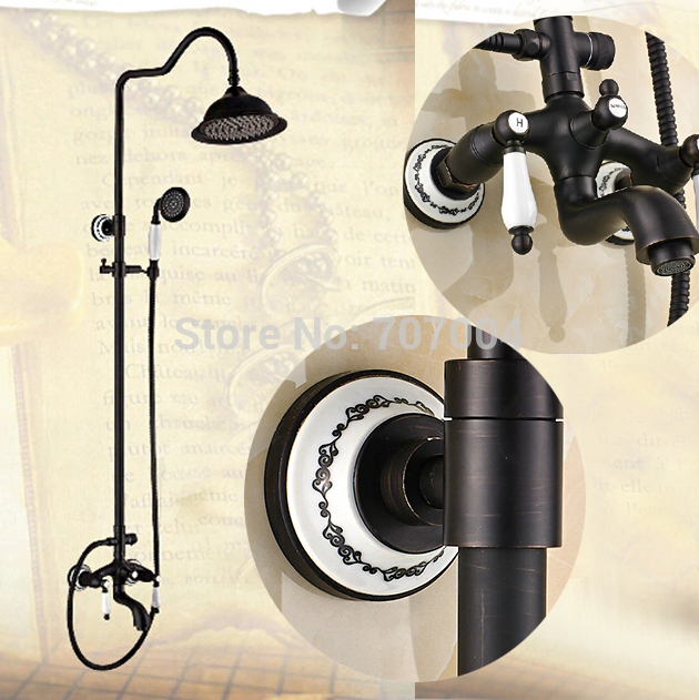 """Unique Design Bathroom Bath Shower Faucet Complete Sets Wall Mounted Dual Handles 8"""" Shower Head + Hand Shower(China (Mainland))"""