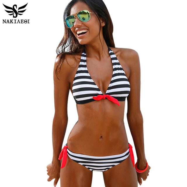 2016 купальник женский бикини женщин купальники короткий топ плед полосой бандо купальник комплект бикини купальный костюм лето одежда для пляжа