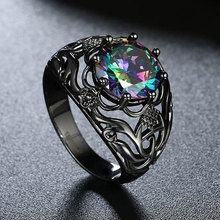 Tuker New Fashion black gun plated Copper alloy Cubic Zirconia Rings For Women Female Vintage Wedding Ring Jewelry Wholesale(China (Mainland))