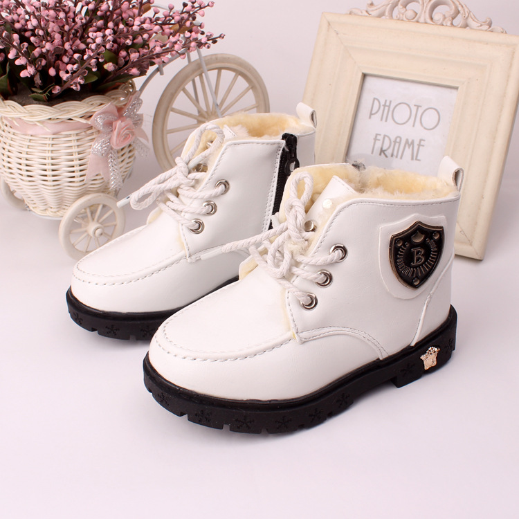 J Ghee 2016 New Winter Kids Shoes Warm Cotton Inside Boys Girls Martin Boots PU Leather White Color Children Snow Boots Fashion(China (Mainland))