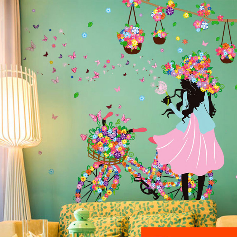 Romantic butterfly flower wall stickers home decor cycling for Mural art designs for bedroom