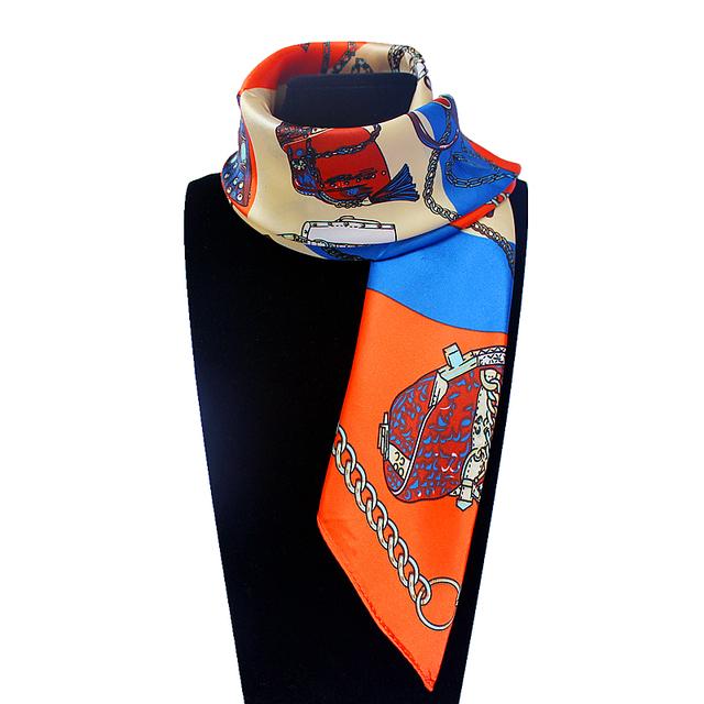 60 см * 60 см женщин 2016 новинка имитационные шелковый евро дизайн сумки и сеть печатных небольшой площади шарф горячая распродажа