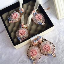 2015 ruslana korshunova baroque large white lace drop earrings royal pink fimo flower pearl dangle earring(China (Mainland))