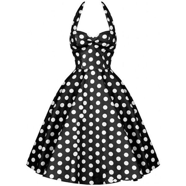 Summer Style New Audrey Hepburn Vestidos Women Rockabilly Dress Big Swing Polka Dot Halter Retro Party Vintage 50s 60s Dresses - Yiwu KingSun Fashion Men's Apparel Co.,Ltd store