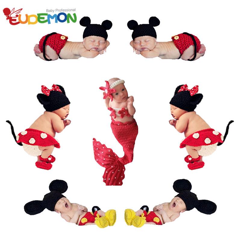 Eudemon So Cute Newborn Photography Props High Quality Handmade Baby Mermaid Blanket Crochet Baby Clothes(China (Mainland))