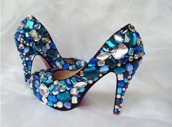 BS002 Free shipping Custom made blue swaroski crystals high heel shoes wedding shoes evening shoes(China (Mainland))