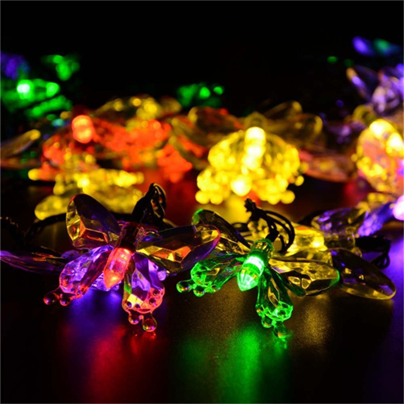 New Premium Quality Waterproof lederTEK 7.5m 40 LED Solar Lights 8 Modes Butterfly Solar Fairy String Lights for Christmas Party(China (Mainland))
