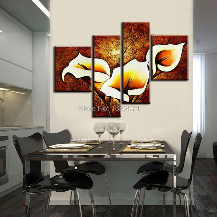 Golden Supplier Wholesale High Quality Abstract Lily Flower Oil Painting On Canvas Handmade Lily Flowers Paintings For Hotel(China (Mainland))
