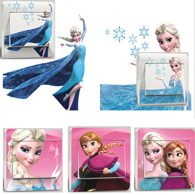 Elsa And Anna Cartoon Switch Sticker Snow Queen Bedroom Parlor Wall Stickers Home Decoration Kids Room Stickers(China (Mainland))