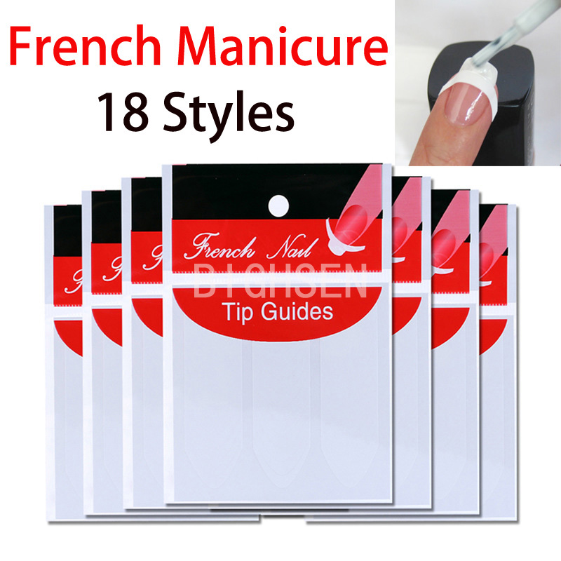 1 Pack French Style Nail Art Sticker French Manicure Nail Tips Guides Nail Design Patch UV Gel Nails Set Wholesale BFR0001(China (Mainland))