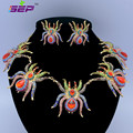 Zinc Alloy Animal Tarantula Spider Necklace Earrings Set W Rhinestone Crystals For Halloween 5 Colors