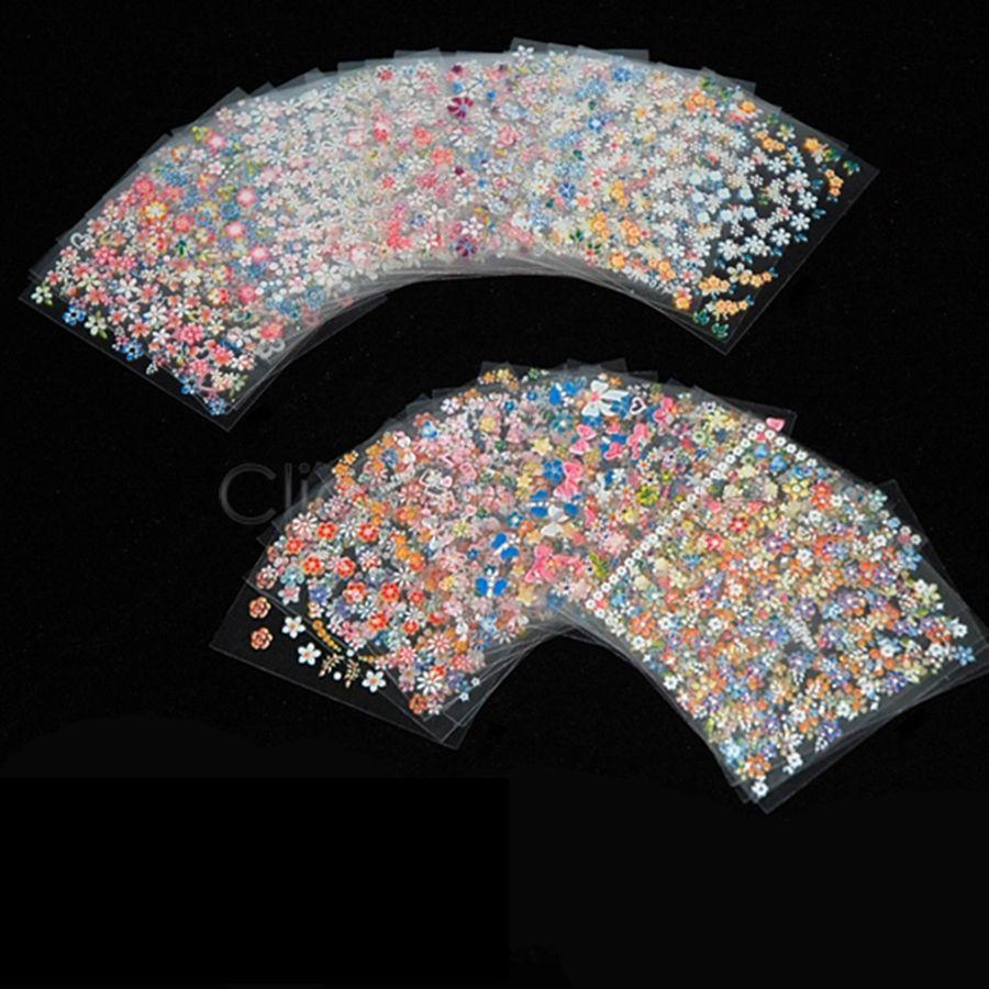 2015 Women Nail Fashion 50 X 3D Nail Art Stickers Mix Flower Decals 550988S(China (Mainland))