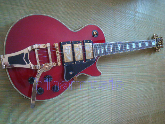 Free shipping Gb CUSTM WINE RED 3 PICKUP electric guitar BIGSBY tremolo Guitars(China (Mainland))
