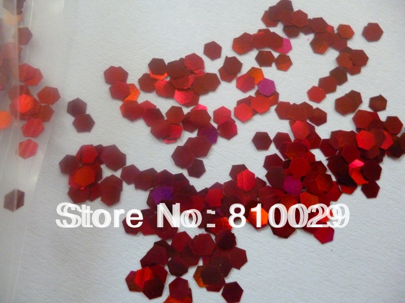 "1kg 1/12"" 2mm PET Blood Red Hexagonal Christmas Glitters Colored Sequin Bulk Glitter Nail Spangles Water Ball sequin(China (Mainland))"