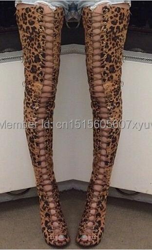 2015 fashion leopard grain cool gladiator thigh high boots