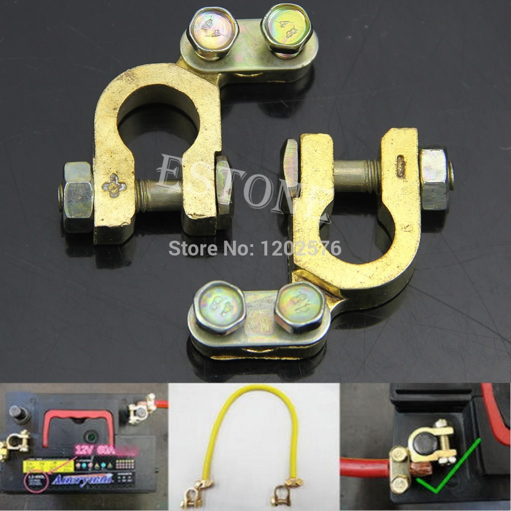 J34 A96 Free Shipping Auto Car 2Pcs Replacement Battery Terminal Clamp Clips Brass Connector Hot Sell  <br><br>Aliexpress