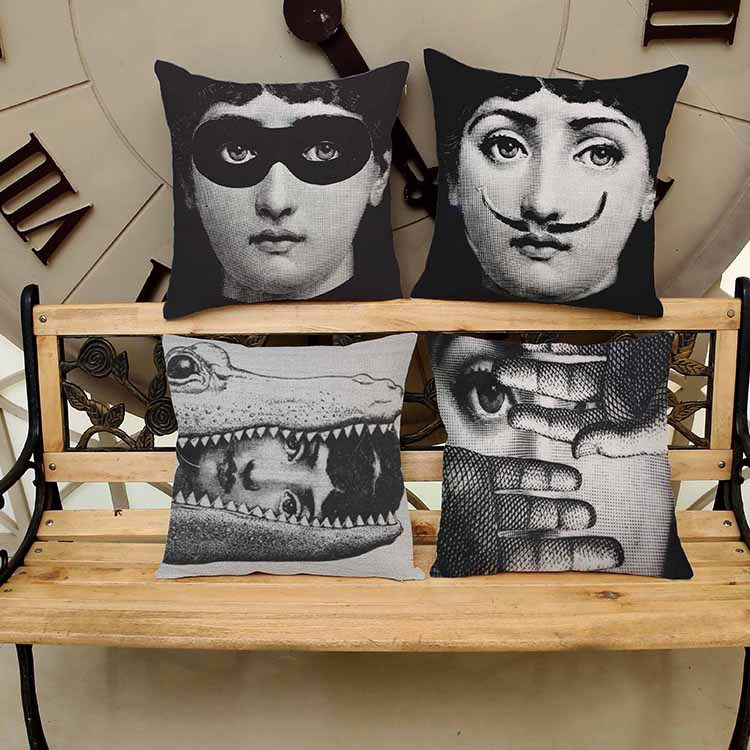 italy fornasetti decorative throw pillow kussens. Black Bedroom Furniture Sets. Home Design Ideas