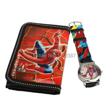 Cartoon Watches Spider Man Series Quartz Watch With Purse Lovely Red Great Gift For Kids BS88 HB88