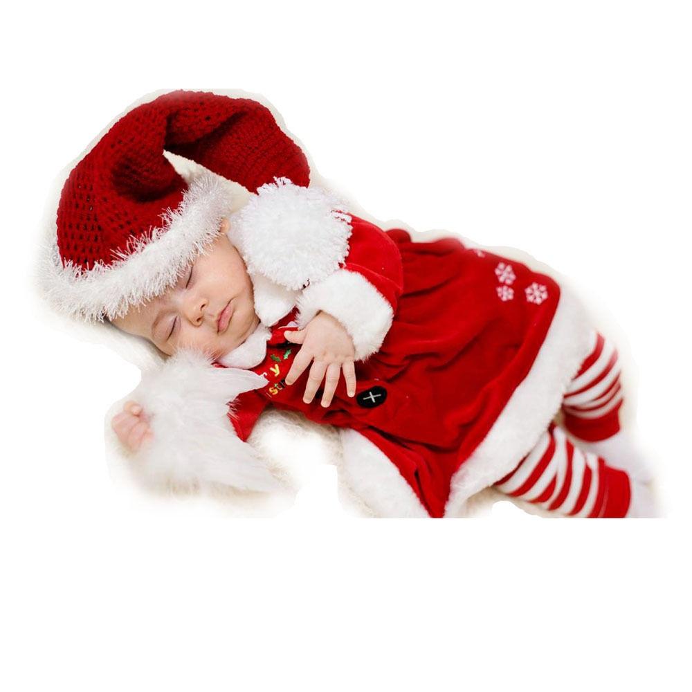 Cute newborn christmas baby girls boy elf costume crochet hat romper