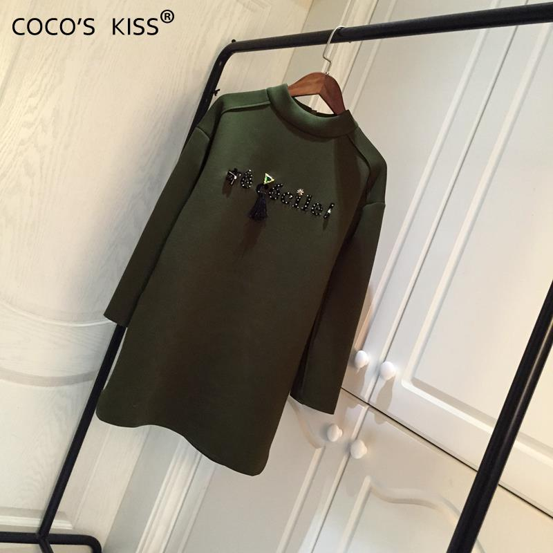 2015 new winter womens pullovers O-neck Long sleeves hand-beaded loose base army green ladies long sweatshirtsОдежда и ак�е��уары<br><br><br>Aliexpress