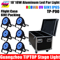 Customized 6in1 Road Case Pack IP65 18x18W RGBWA UV 6in1 Waterproof DMX LED Par light DMX512