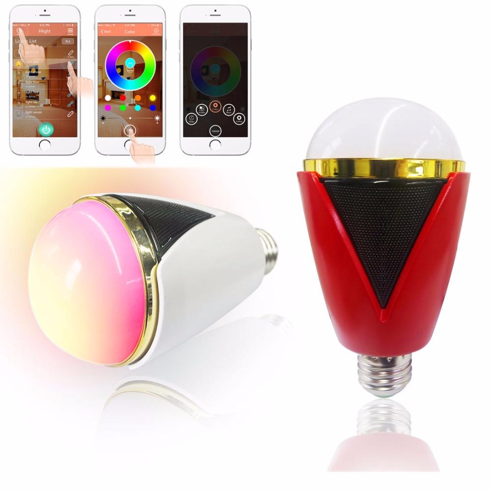 110V 240V 5W Smart Music Player RGB Led Lamp Portable Wireless Bluetooth Speaker Lighting Bulb for Smart Phone(China (Mainland))
