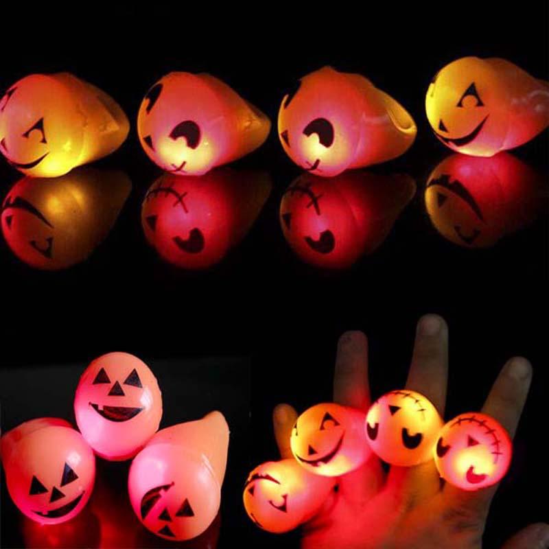 Soft LED Light Up Flashing Pumpkin Smile Jelly Finger Rings Ring Wedding Birthday Halloween Children'Day Christmas(China (Mainland))