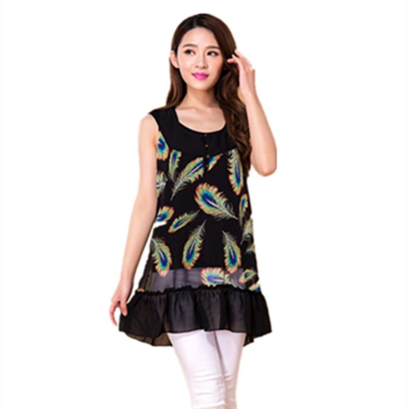2016 New Fashion Women's Printed plus size chiffon blouse sleeveless floral chiffon shirt fashion tops Black falbala Blouses(China (Mainland))