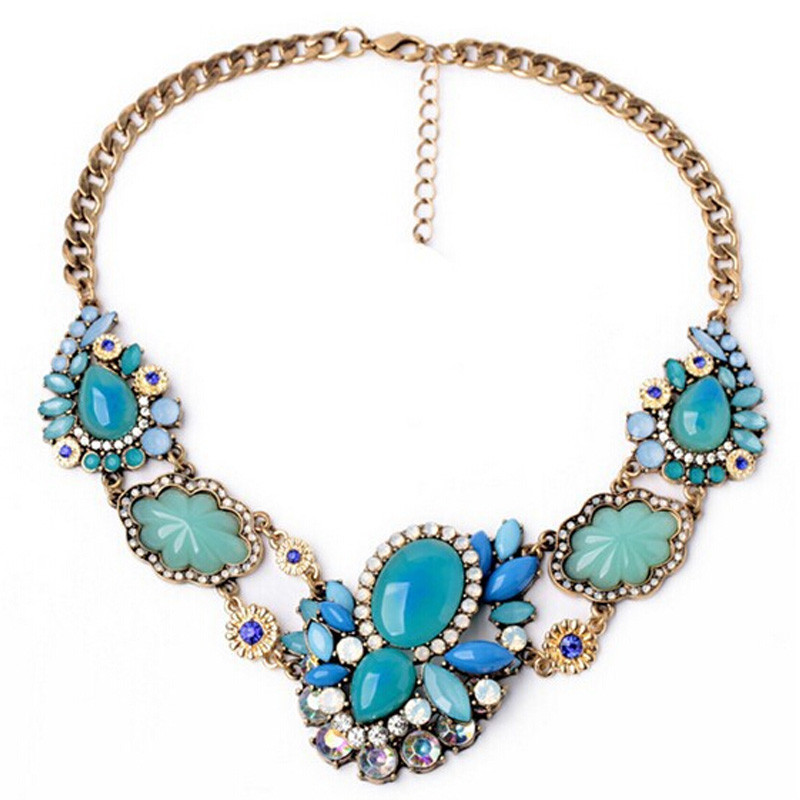 Summer Style Collar Mujer Statement Necklaces & Pendants Imitated Gemstone Jewelry Collier Femme for Women Accessories 2015
