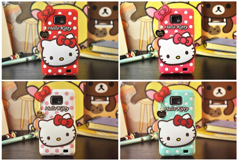 ! New Polka Dot Pendant Hello Kitty Silicone Rubber Back Cover Phone Case Samsung Galaxy S2 II I9100 - T-WELL INC. store