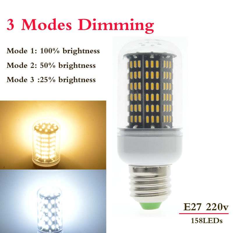 1x3 Modes Dimmer E27 158LED 35W 220V 230V No Flicker Smart Power IC Design LED Corn Bulb High Lumen 4014 SMD LED lamp Spot light(China (Mainland))