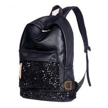 2017 Марка дизайнер женщины Простой Стиль рюкзак мода PU кожаный Черный мешок школы для девочек большой емкости дорожная сумка(China (Mainland))