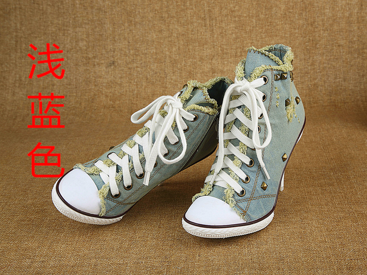 2016 New Zapatillas Deporte Mujer Ankle Shoes Blue Denim Boots For Women Leisure Canvas Shoes Super High Heels Botte
