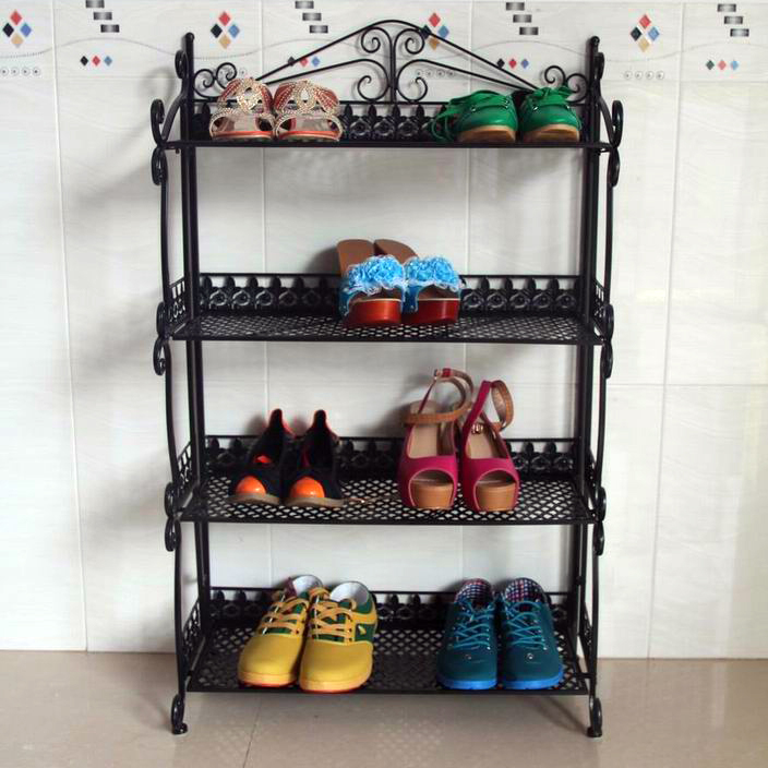 Continental Iron metal folding shoe rack multi- floor storage simple creative living room slippers<br><br>Aliexpress