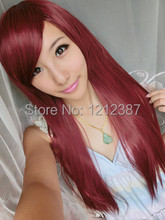 Personality Wig Wine Red Long Straight Hair Inclined Bang High Temperature Wigs HB88(China (Mainland))