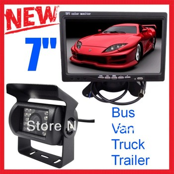 """CCD Car BUS Rear view camera Monitor kit 7""""tft Color LCD for Truck Caravan Tractor Trailer Reversing Parking"""