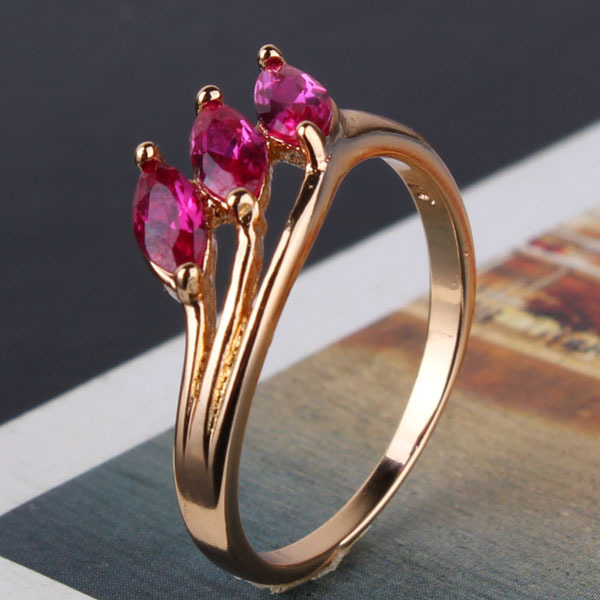 Valuable Rings Journey Eternity 18K Gold Plating Cute Lady Fashion Ruby Ring With Gift Box Fast