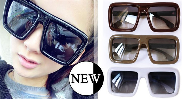 Fashion Unisex Oversized Sunglasses Big Black Square Sun Glasses For Women Men Plastic Sun Glasses 6Pcs/Lot Free Shipping(China (Mainland))
