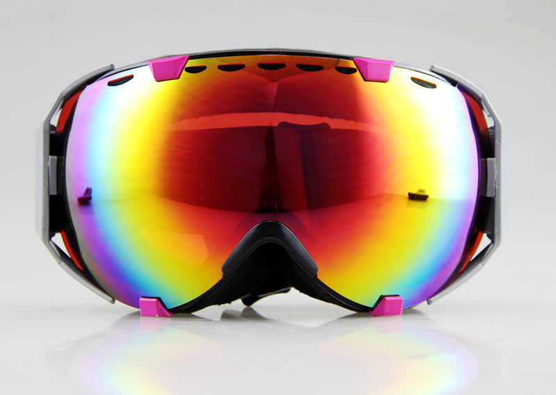 PINK/BLACK FRAME COLOURED DOUBLE LENS SNOW SNOWBOARD SKI GOGGLES NEW(China (Mainland))