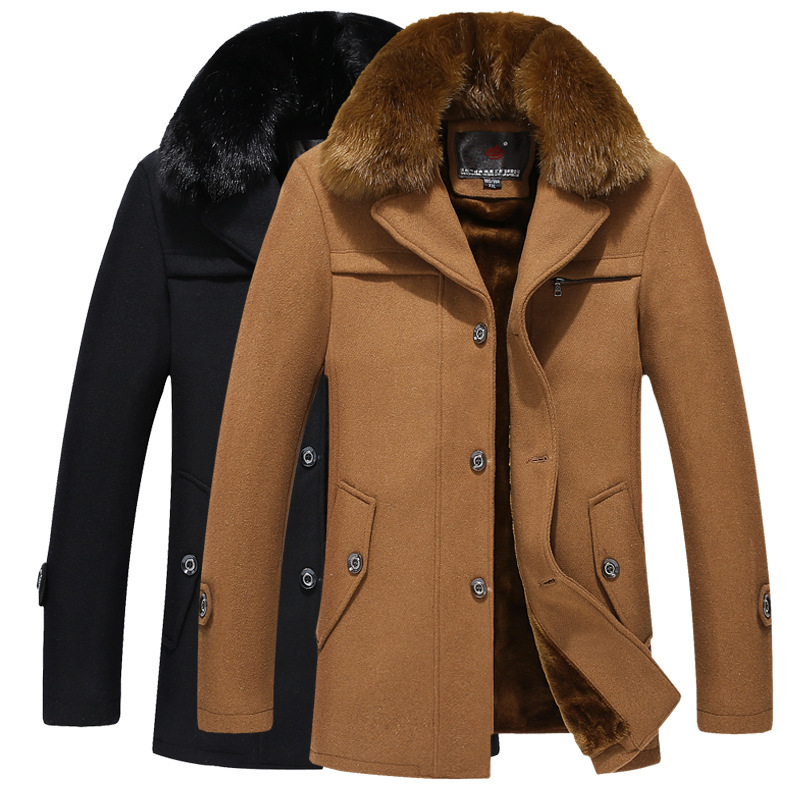 Winter Coat 2015 Warm Wool supply of male plus velvet warm woolen coat fur collar coat wholesale men brand Free shipping 34(China (Mainland))