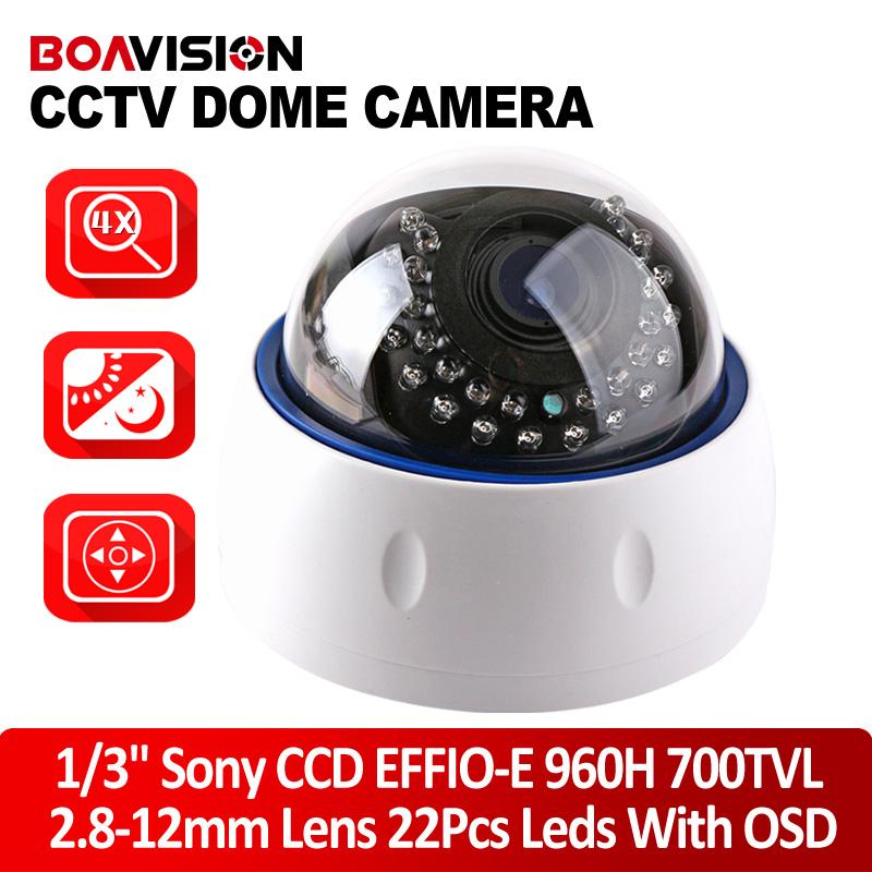 """1/3"""" Sony CCD Dome Camera 960H 700TVL Effio-e 2.8~12mm Varifocal Lens 22Pcs IR Leds Indoor CCTV Dome Camera With OSD Menu(China (Mainland))"""